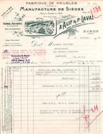 Facture - Fabrique De MEUBLES SIEGES - Ets A.ALIF & P.LAVAL - DIEUE - France