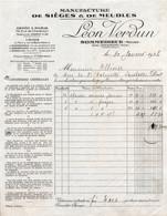Facture - Manufacture De MEUBLES SIEGES - Ets Léon VERDUN - SOMMEDIEUE - 1934 - France