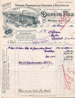 Facture - Fabrique De CHAISES & FAUTEUILS - Ets DUPUIS Fils - SORCY  (2 Docs) - France