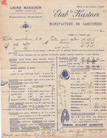 Lettre Commerciale - TARIF - Manufacture De CAOUTCHOUC - Ets KASTNER - PARIS 4è - France