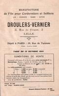 TARIF - Manufacture FILS Pour Cordonniers Selliers - Ets DROULERS-VERNIER - LILLE - 1921 (doc 6 Pages) - Vestiario & Tessile