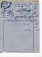 Facture - Manufacture Accessoires Automobiles & CYCLES - Ets MARTINAUD - PARIS 20è - 1952 - Automovilismo