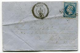RC 18574 ALPES MARITIMES BREIL T22 (INDICE 29 = 2400€ ) + PC 4205 N° 14 SUR LETTRE DE 1861 POUR MONTAUREAUX VAR - 1849-1876: Klassieke Periode