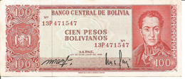 BOLIVIA 100 PESOS BOLIVIANOS LEY 13/07/1962 - Bolivia