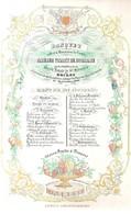 """BRUGGE-BRUGES """" BANQUET AMEDEE VISART DE BOCARME-MENU 1843 """" LITH.DAVELUY-260/170 MM - Porcelaine"""