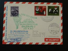 Carte Postcard Vol Flight Ballon Albis Montgolfière Ballonpost Balloon Austrian Pro Juventute 1960 (ref 96077) - BRD