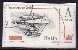 ITALIA REPUBBLICA ITALY 2015 LEONARDO DA VINCI LEONARDESCA VITE AEREA MACCHINE VOLANTI A ZONA 1 USATO USED OBLITERE' - 2011-...: Oblitérés