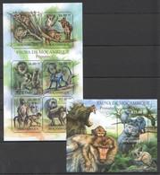 BC1088 2011 MOZAMBIQUE MOCAMBIQUE FAUNA ANIMALS PRIMATAS MONKEYS 1SH+1BL MNH - Apen