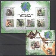 BC1258 2011 MOZAMBIQUE MOCAMBIQUE FAUNA DAS FLORESTAS ANIMALS MONKEYS GIBAO 1SH+1BL MNH - Apen