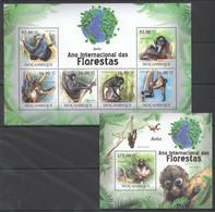 BC1265 2011 MOZAMBIQUE MOCAMBIQUE FAUNA DAS FLORESTAS ANIMALS MONKEYS ATELES 1SH+1BL MNH - Apen