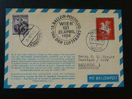 Card Postcard Ballon Balloon Ballonpost Montgolfière Pro Juventute Austria 1958 Germany (ref 96117) - Fesselballons