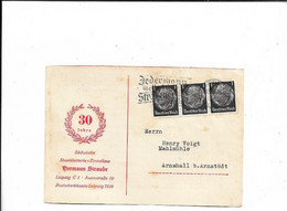 Karte Aus Leipzig Nach Arnshall 1936 - Cartas