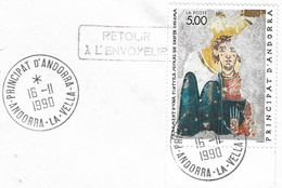 Timbres Sur Lettres 1990 N°396 Santa Coloma Cote 8€ - Cartas