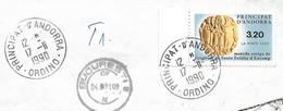 Timbres Sur Lettres 1990 N°397 Monnaie Ordino Pour Bucarest Cote 7€ - Cartas