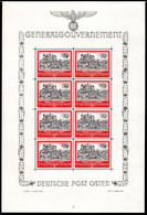 40.GERMANY OCCUP OF POLAND,GENERALGOUVERNEMENT,1941 MICH.65 MNH SHEETLET OF 8,KRAKAU CASTLE,VERY FINE - Unclassified