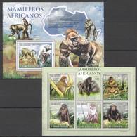BC803 2010 S.TOME E PRINCIPE MAMIFEROS AFRICANOS WILD ANIMALS MONKEYS 1KB+1BL MNH - Apen
