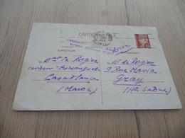 Maroc Casablanca Pour GrayEntier Pétain Griffe Bleu Casablanca Postes Avion Surtaxe Aérienne 0F80 1942 - Cartas