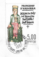 Timbres Sur Lettres 1991 N°412 Vierge De Sant Julia Oblitération Concordante - Cartas