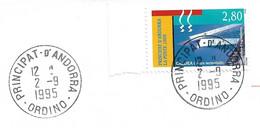 Timbres Sur Lettres 1995 N° 459 Balnéothérapie Oblitération D'Ordino Cote 2,50€ - Cartas