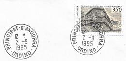 Timbres Sur Lettres 1995 N° 460 Auditorium Oblitération D'Ordino Cote 10€ - Cartas