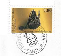 Timbres Sur Lettres 1996 N° 475 Encensoir Cote 9€ Oblitération De Canillo - Cartas