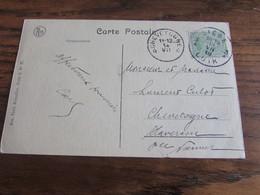 Carte Vue De Liège Oblitérée Idem Pour Le RELAIS De CHEVETOGNE En 1919 - Sterstempels