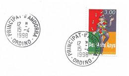 Timbres Sur Lettres 1997 N° 497 Voeux D'anniversaire Obl. D'Ordino Cote 2,50€ - Cartas