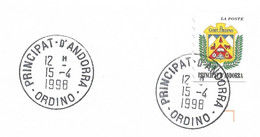 Timbres Sur Lettres 1998 N° 502 Ecu D'Ordino Oblitération Concordante Cote 2,50€ - Cartas