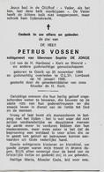 Souvenir Mortuaire VOSSEN Petrus (1894-1969) Geboren Te GOOIK Overleden Te ONZE-LIEVE-VROUW-LOMBEEK - Andachtsbilder