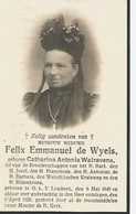 Souvenir Mortuaire WALRAVENS Catharina (1848-1928) Wwe  De WYELS, F. Geboren En Overleden Te ONZE-LIEVE-VROUW-LOMBEEK - Andachtsbilder