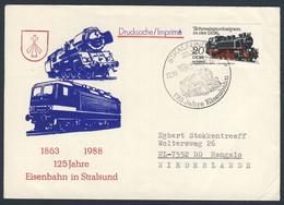 DDR Germany 1988 Brief Cover - 125 Jahre Eisenbahn In Stralsund 1863 - 1988 / Railway / Chemin De Fer - Trains
