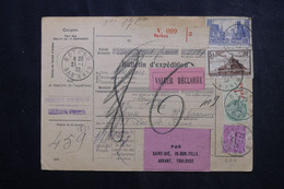 FRANCE - Bulletin De Colis Postal De Rothau En 1932 Pour Toulouse, Affranchissement Fiscal / Timbres Postes - L 73212 - Cartas