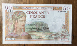 Billet De 50 Francs 13/04/1939 - 50 F 1934-1940 ''Cérès''