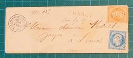 """Rhône - Villefranche-s-Saone - N°14 + 13(déf.) - Lettre Locale """"CHARGE"""" 1858 - Destinataire Décédé - Jamais Ouverte - Zonder Classificatie"""