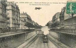 PARIS 75017 BOULEVARD PEREIRE LE CHEMIN DE FER DE CEINTURE AVEC AVION AU DESSUS - Arrondissement: 17