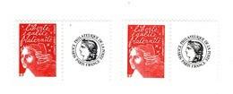 Luquet TVP Rouge RF Personnalisé Cérés YT 3417a + 3587A Papier LUMI + Papier MAT Sous UV . Voir Scan . Cote Maury : 13 € - Personalizzati