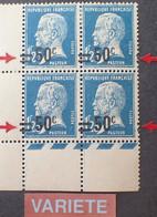 R1118/182 - 1926 - TYPE PASTEUR - N°222d NEUFS**(2)/*(2) CdF - VARIETE ➤➤➤ Surcharge à Cheval (x4) - Abarten: 1921-30 Ungebraucht