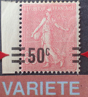 R1118/183 - 1927 - TYPE SEMEUSE LIGNEE - N°224d NEUF** CdF - VARIETE ➤➤➤ Surcharge à Cheval - Variedades: 1921-30 Nuevos