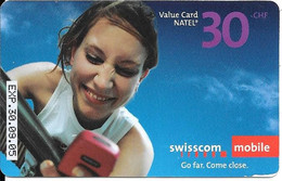CARTE PREPAYEE-SUISSE-2005-SWISSCOM MOBILE-Recharge GSM 30CHF-Plastic Glacé Fin-Gratté-T BE-RARE - Schweiz