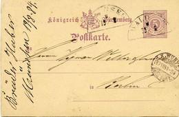 (Lo4572)  Altdeutschland Ganzs. Württemberg St. Waldsee N. Berlin St. Wurtt.Bahnpost - Lettere