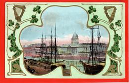 IRELAND DUBLIN      CLOVER SHAPED VIGNETTE OF CUSTOM HOUSE AND QUAYS - Dublin