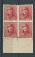 N° 168B BLOC DE 4** AVEC N° DE PLANCHE 3 - 1919-1920 Roi Casqué