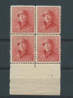 N° 168A BLOC DE 4** AVEC N° DE PLANCHE 5 - 1919-1920 Roi Casqué