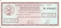 BOLIVIE 100000 PESOS BOLIVIANOS 1984 UNC P 188 - Bolivia