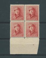 N° 168A BLOC DE 4** AVEC N° DE PLANCHE 6 - 1919-1920 Roi Casqué