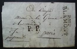 Blamont 24 Floréal L'an 6 Lettre De Badonviller Port Payé P.52.P / BLAMONT 47 X 13 + P.P Fervel Au Ministre De La Guerre - 1701-1800: Precursors XVIII