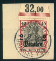 1905, 2 Piaster Auf 40 Pfg. Germania Oberrand Plattendruck Gestempelt SMIRNA - Ufficio: Turchia