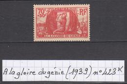 France A La Gloire Du Génie (1939) Y/T N° 423 Neuf * - Unused Stamps