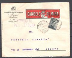 Italia Regno Busta Pubblicitaria Fabbrica Candele Di Mira VF/F - Pubblicitari