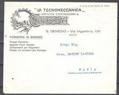 Italia Regno Busta Pubblicitaria Off.Meccaniche Chiesa Pavia VF/F - Publicity
